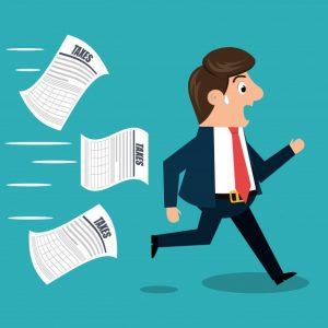 איור איש עסקים בורח ממס
